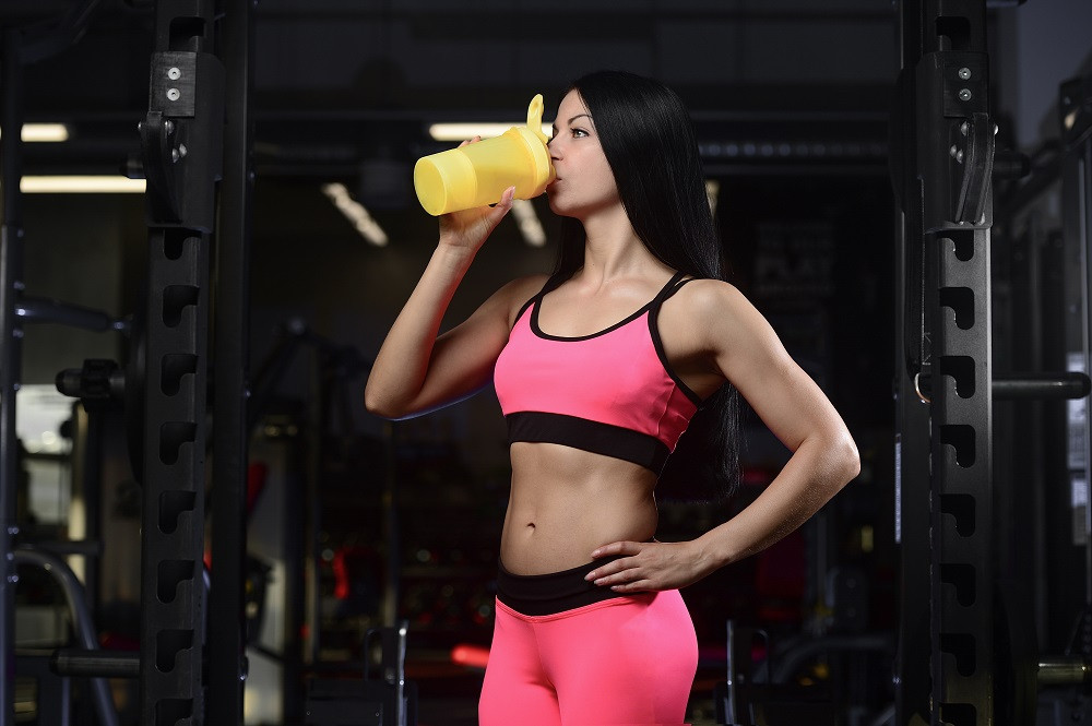 fitness girl protein shake