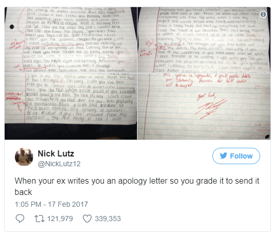Student suspended for giving ex's apology letter a D-minus