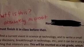 Florida Teacher Writes 'WTF is this?' on Student's Homework