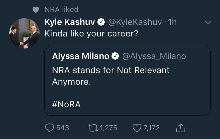 Alyssa Milano is not a friend of the NRA