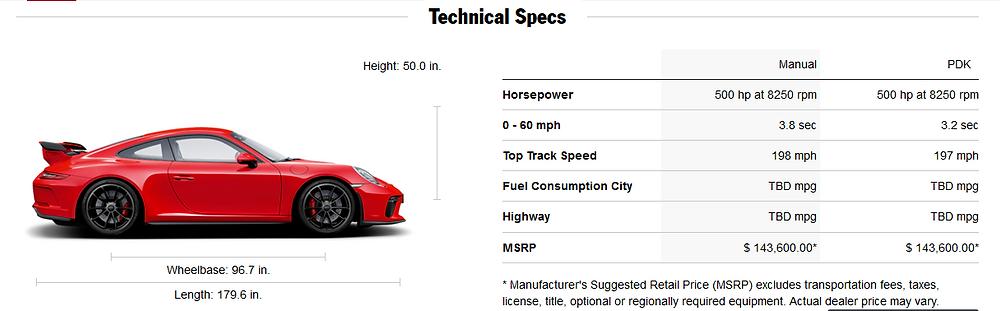 911 gt3 spec chart