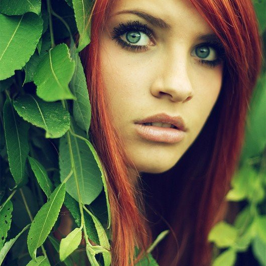 green eyed red head