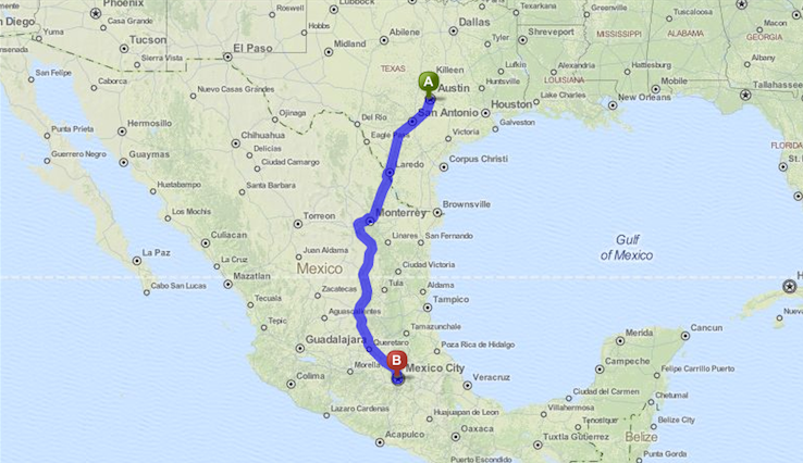 map to mexico