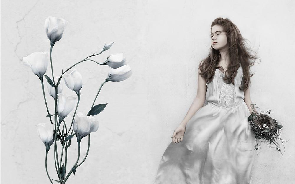 eerie woman in garden