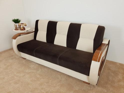 Brown Cream Raindrop Sofa Bed 2 Armchairs