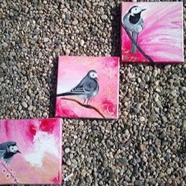 Oiseaux sur fond rose