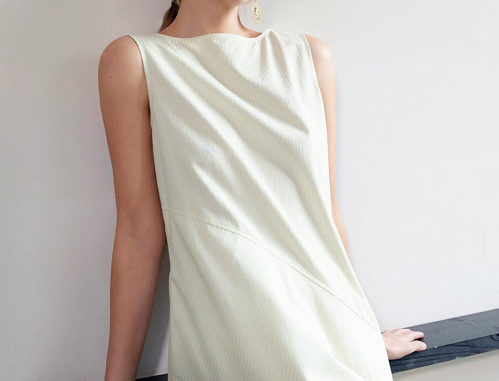 Cotton Striped Bias-Cut Dress