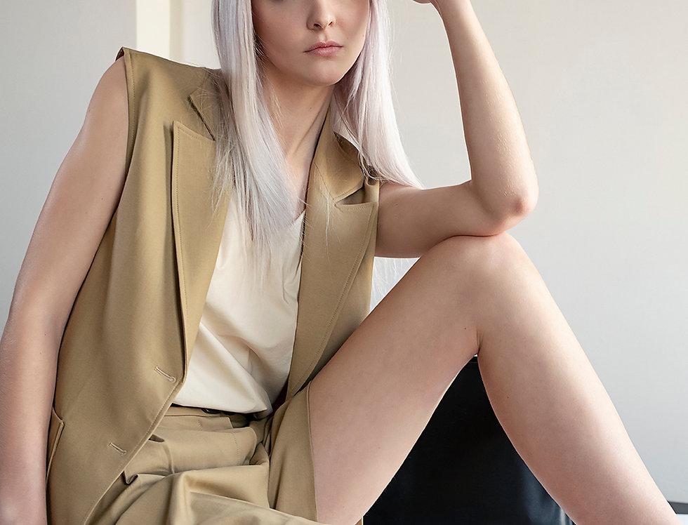 Wool Sleeveless Blazer Jacket