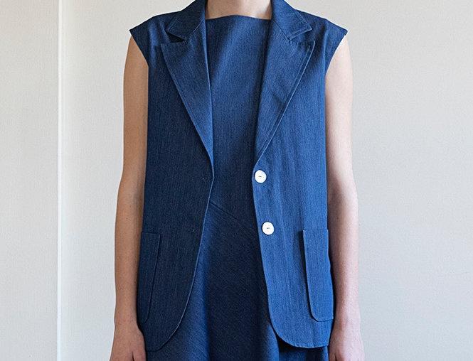 Denim Sleeveless Blazer Jacket
