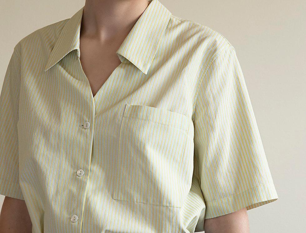 Cotton Striped Shirt with Italian Collar
