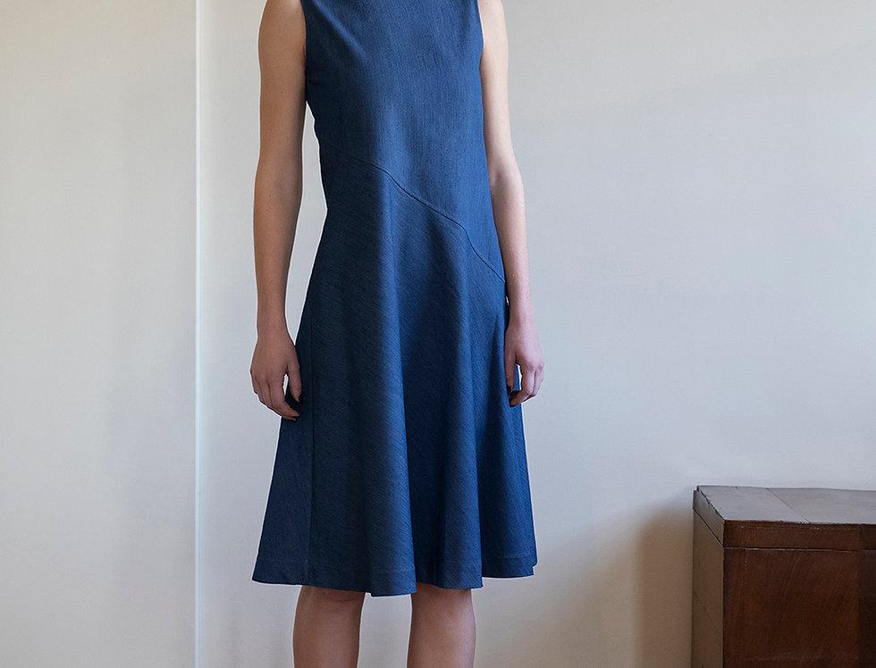 Silky Denim Bias-Cut Dress