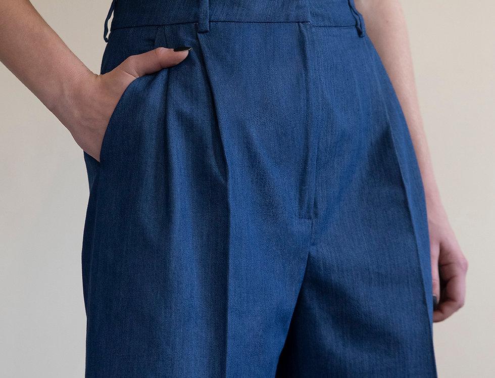 Silky Denim Tailored Shorts