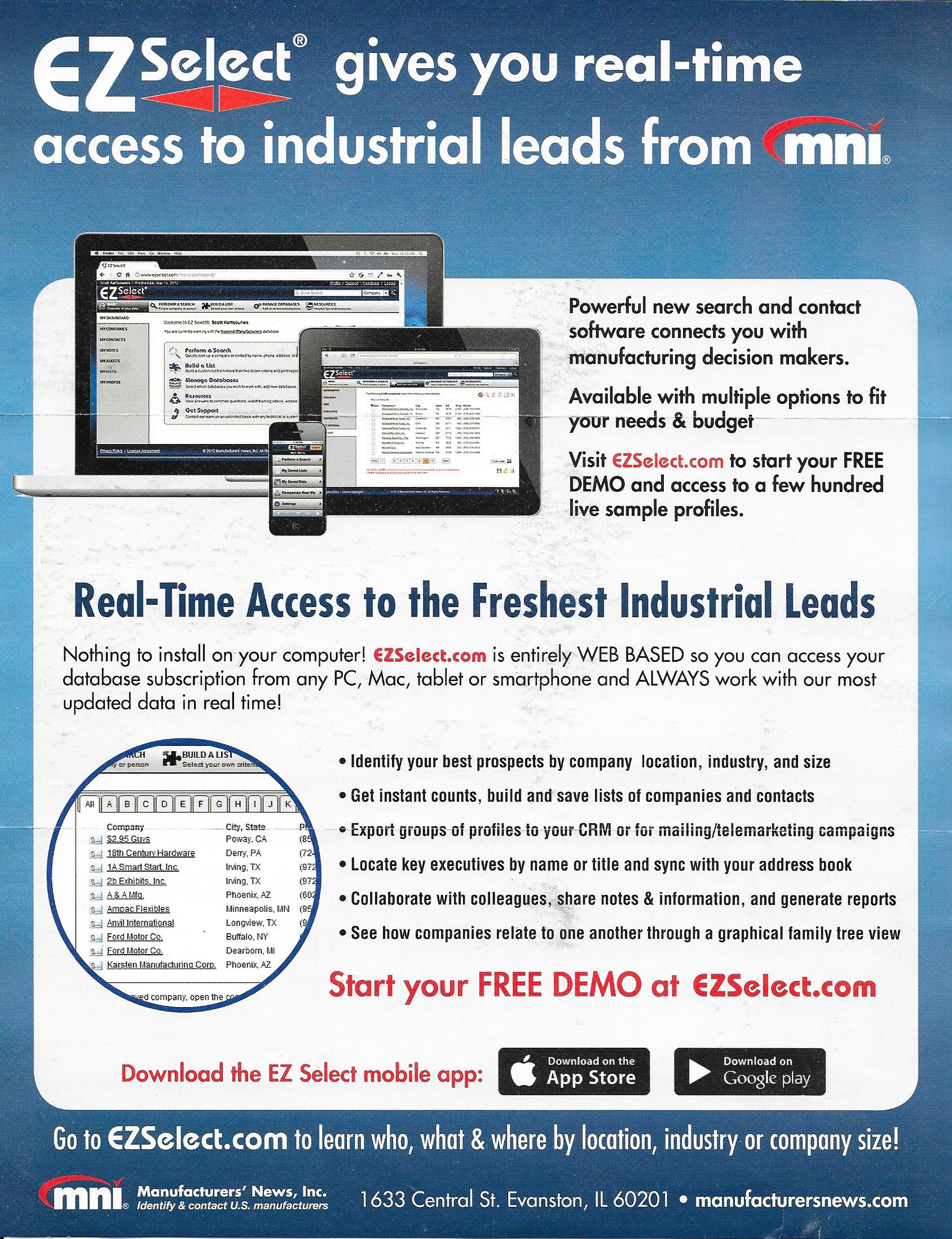EZSelect.com Promo Sheet