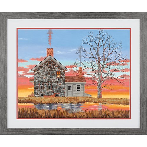 "Dimensions paintwork - Home at sunset 20""x14"""