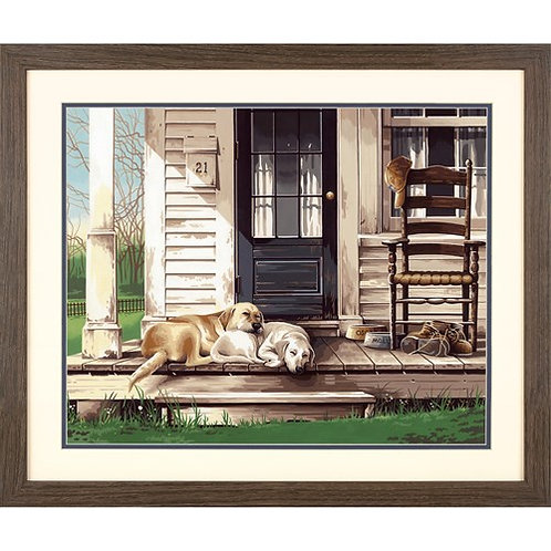 """Dimensions paintwork -''Lazy dog day'' 20""""x14"""""""