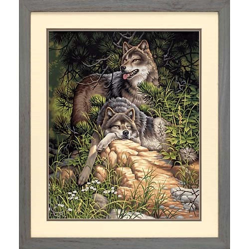 "Dimensions paintwork - Wild & Free wolves 16"" x20"""