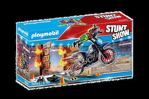 Playmobil - Stuntshow Pilote moto et mur de feu