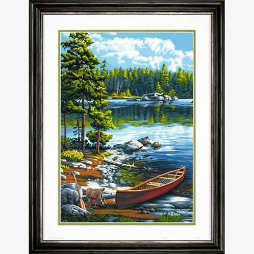 "Dimensions paintwork - Canoe by the lake 14""x20"""