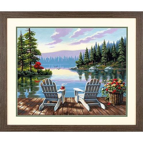 "Dimensions paintwork - Matin au bord du lac 20""x14"""