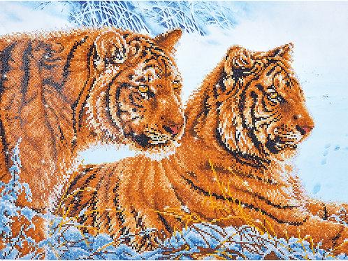 DIAMOND DOTZ® -  Tigres dans la neige