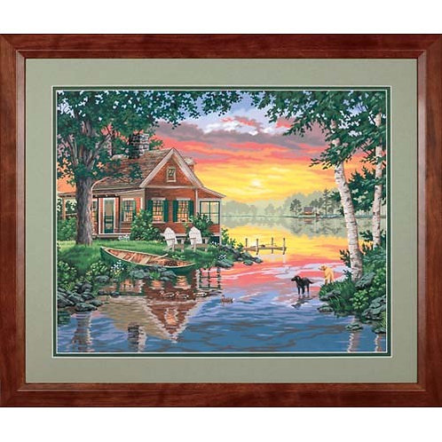 """Dimensions paintwork - Sunset cabin 20""""x14"""""""