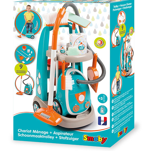 Smoby - Chariot ménager et aspirateur 9 pièces