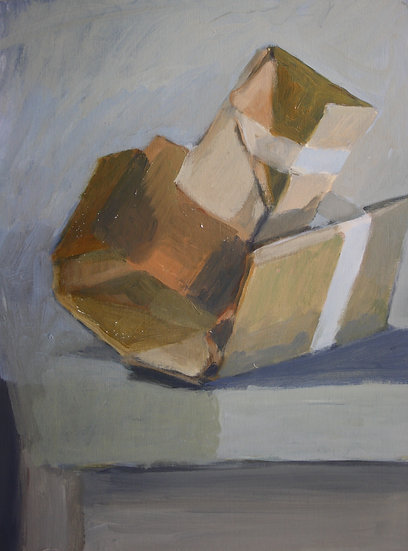 Cardboard sculpture 2,  Acrylic on paper, 40 x 30 cm.