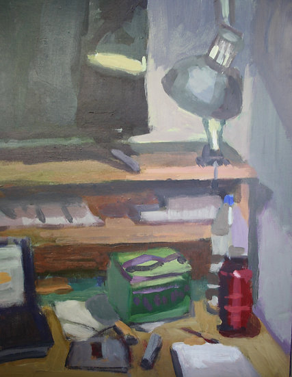 Studio desk, Acrylic on paper, 40 x 30 cm.