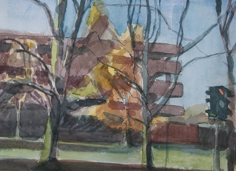 Autumn at Companies House, watercolour on paper, 25 x 35 cm.