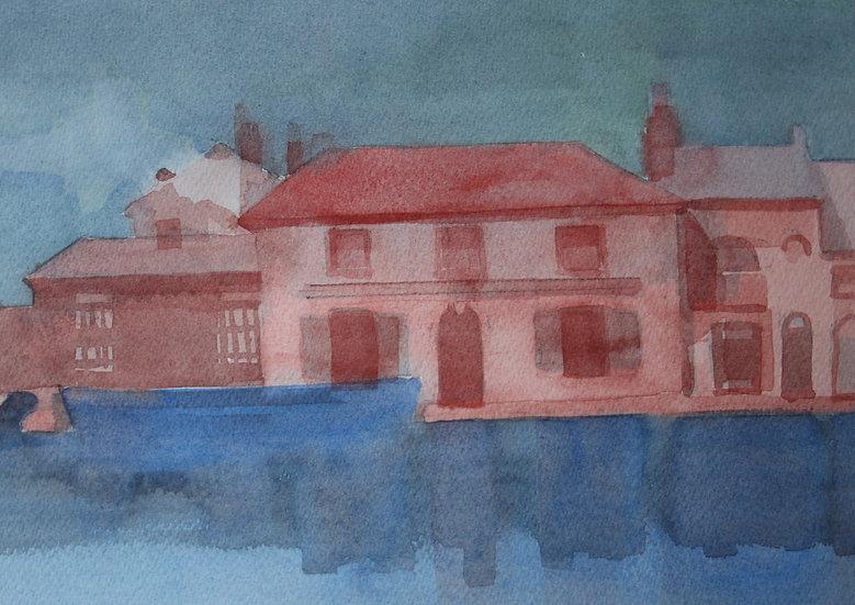 Old Sea Lock Hotel 1891, watercolour on paper, 25 x 35 cm.