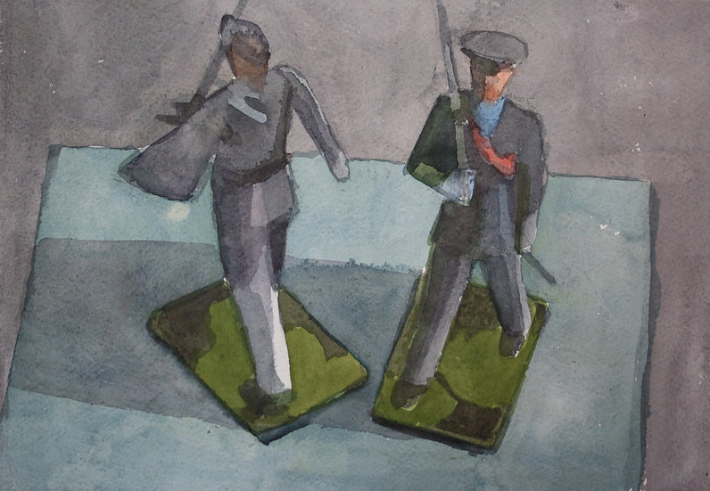 Toy soldiers, watercolour on paper, 25 x 35 cm.