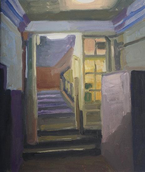Barcelona lobby, Oil on canvas, 36 x 30 cm.