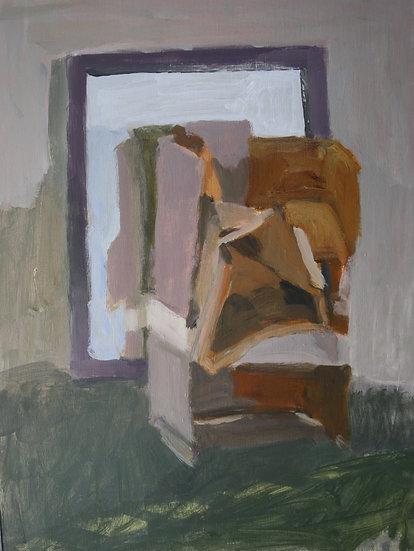 Cardboard sculpture 1,  Acrylic on paper, 40 x 30 cm.