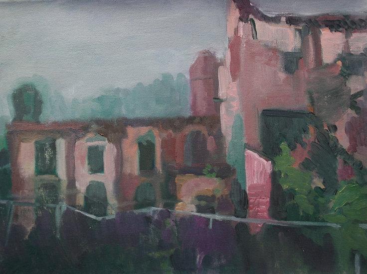 Piercefield House ruins, Oil on canvas, 30 x 40 cm.