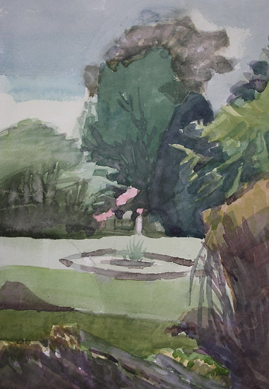 Insole Court gardens, watercolour on paper, 35 x 25 cm.