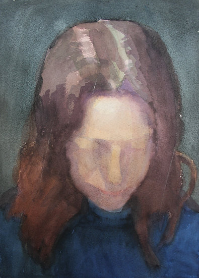 Young woman's portrait, watercolour on paper, 35 x 25 cm.