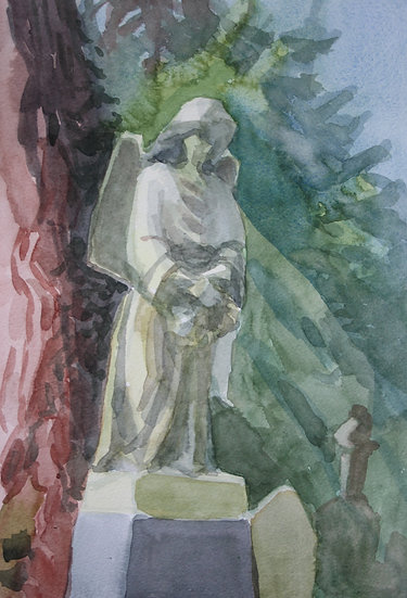 Cemetery angel, watercolour on paper, 35 x 25 cm.