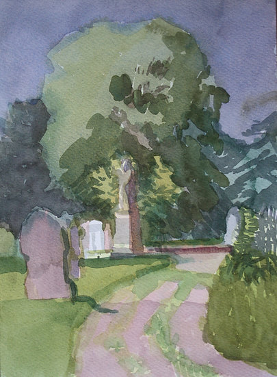 Cemetery path, watercolour on paper, 35 x 25 cm.