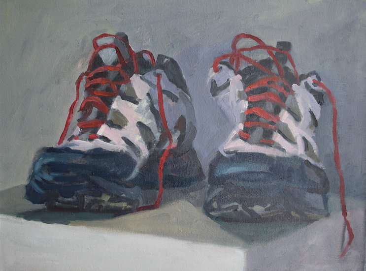 Walking shoes, Oil on canvas, 30 x 40 cm.