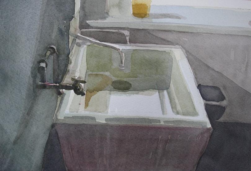 Studio sink, watercolour on paper, 25 x 35 cm.