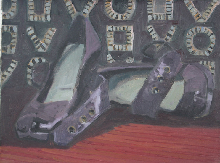 Shoe display, Oil on canvas, 30 x 40 cm.