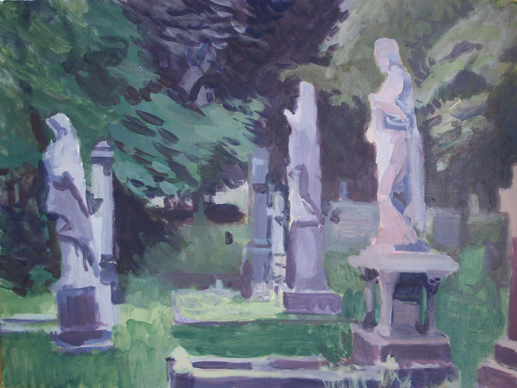 Cemetery statues,  Acrylic on paper, 30 x 40 cm.