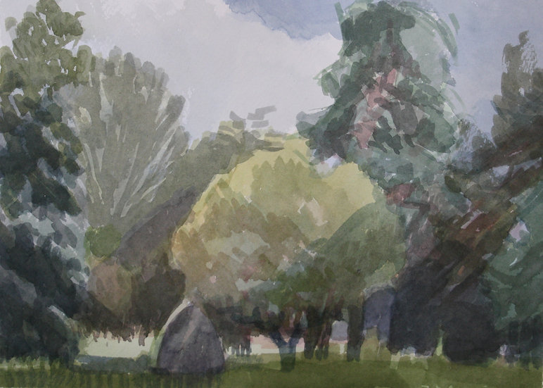 Cathays cemetery 1, watercolour on paper, 25 x 35 cm.