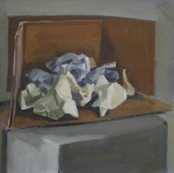 Paper sculpture, Oil on canvas, 36 x 36 cm.