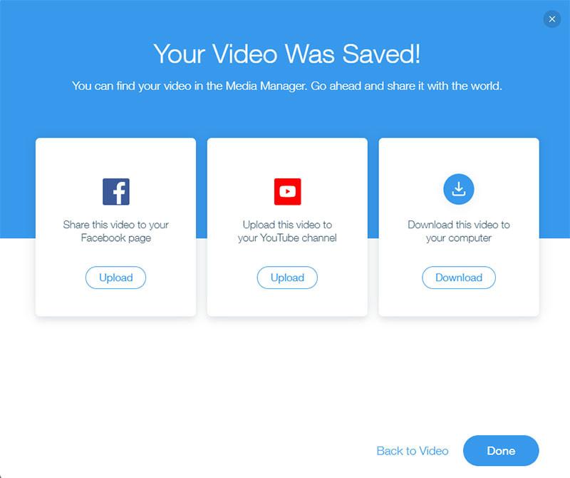 תוכלו לבחור אם לשתף בפייסבוק, בערוץ היוטיוב שלכם או להוריד את הסרטון למחשב שלכם