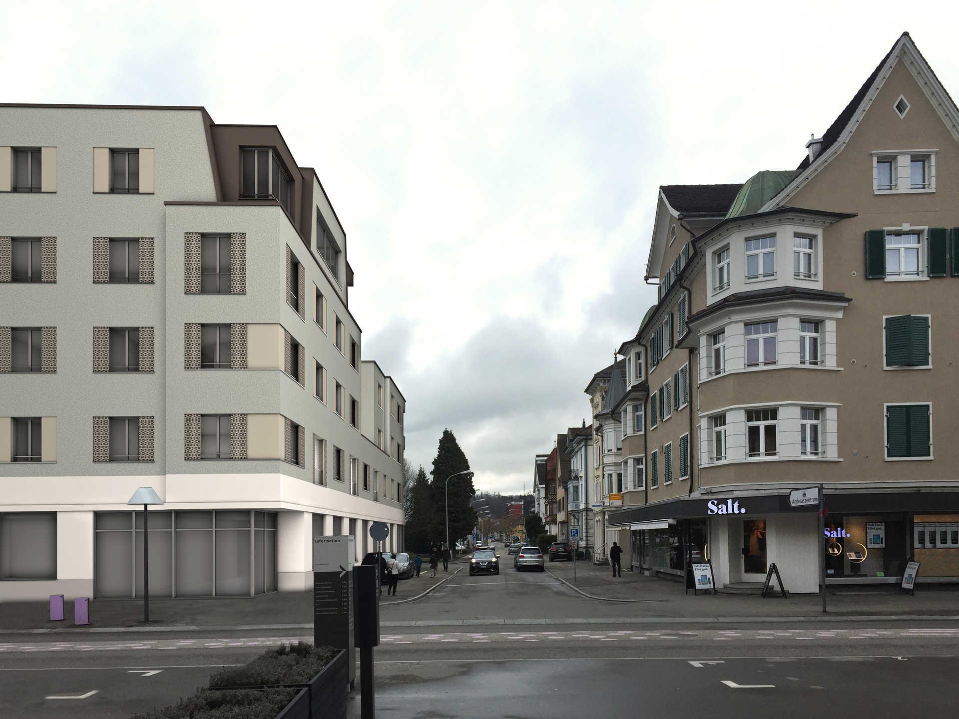 SNP St.Gallerstrasse - Bahnhofstrasse Gossau SG   15 Wohnungen / Erdgeschoss Gewerbe