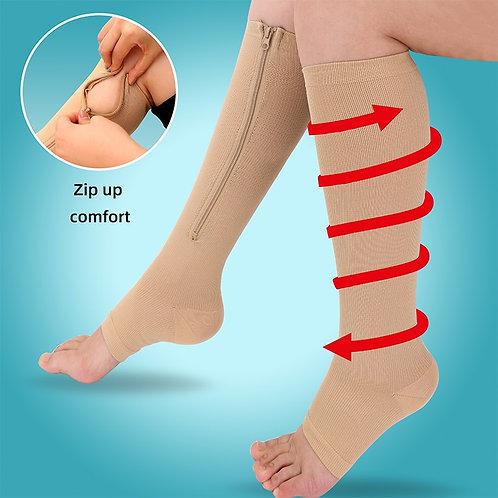 Burn Fat Zipper Compression Socks Slim Leg  Prevent Varicose Veins Socks
