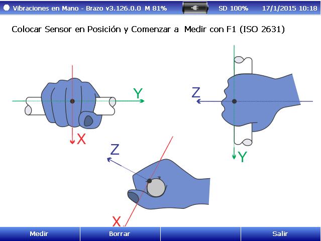 Posición sensor mano brazo