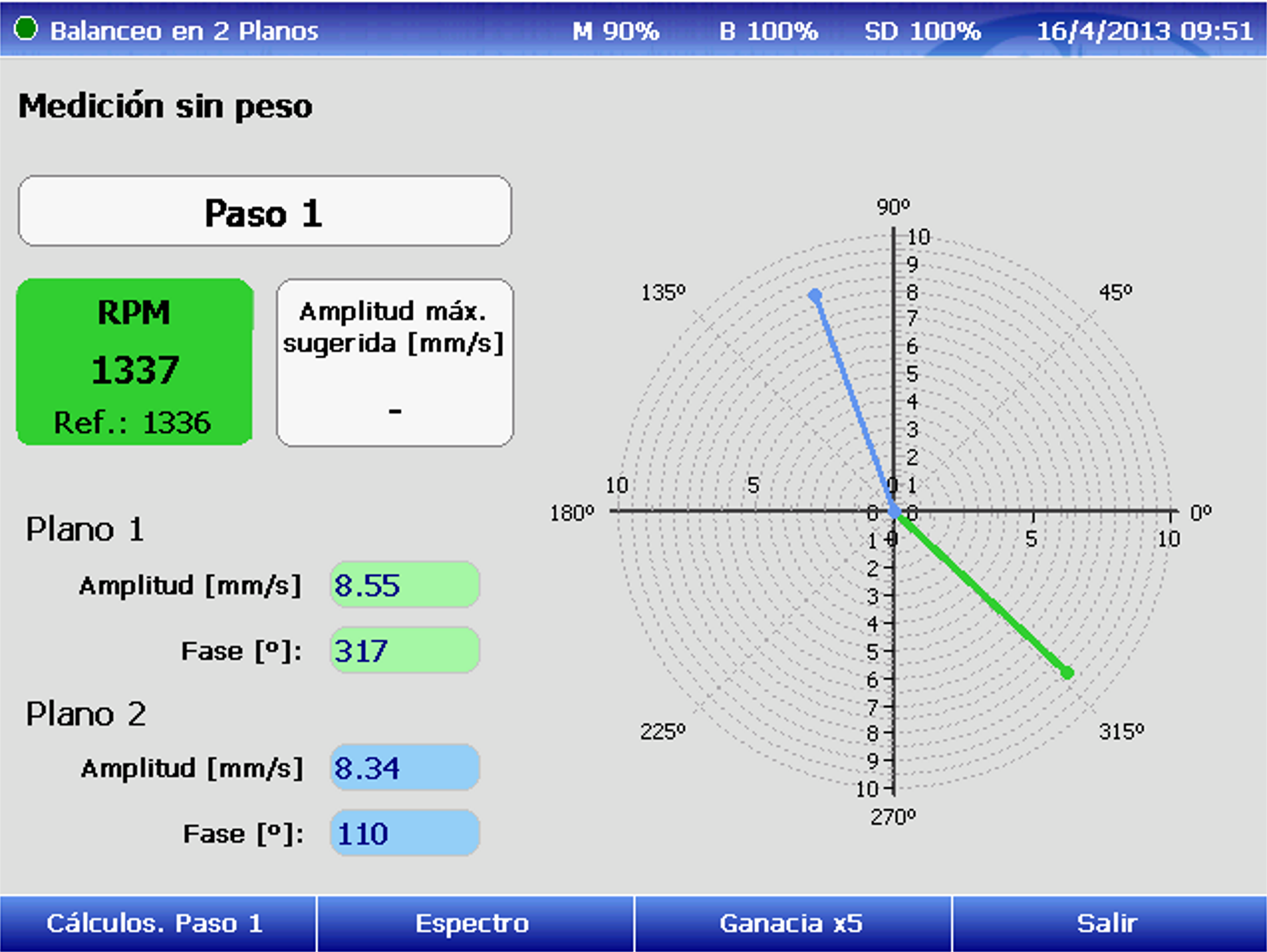 Paso 1 medición vibración