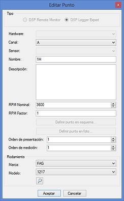 Carga de nombre, rpm y rodamiento